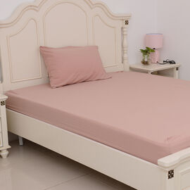 Set of 4 - Ultrasoft Stone Washed Dusty Rose Colour King Size Fitted Sheet (150x200+30 Cm), Double Duvet Cover (200x200 Cm) and 2 Pillow Case (75x50+5 Cm)