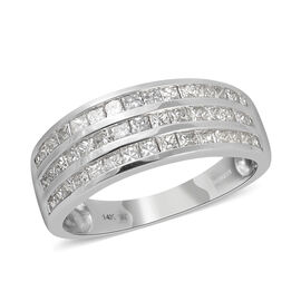 New York Close Out - 14K White Gold Diamond (Sqr) (I1/G-H) 3 Row Band Ring 1.000 Ct.