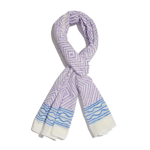 100% Cotton White, Purple and Blue Colour Block Print Scarf (Size 180x115 Cm) with Stretchable Beads Bracelet (Size 7.5)
