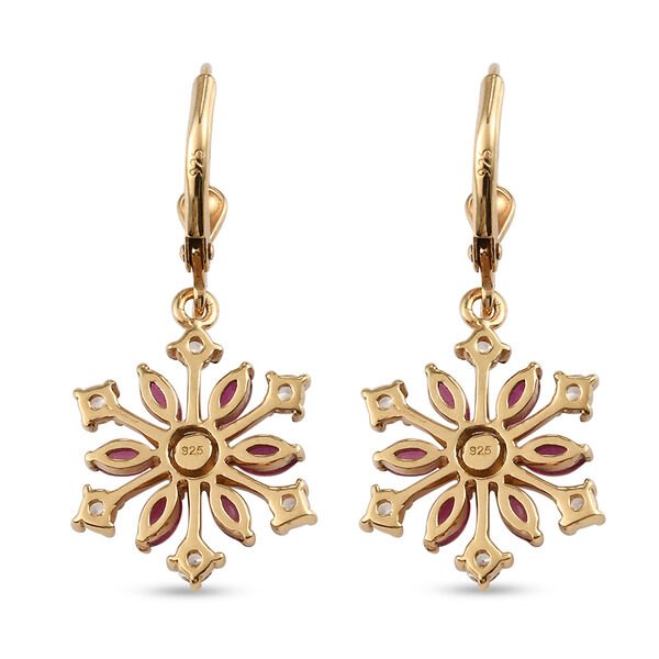 African Ruby (FF) Natural Cambodian Zircon Snowflake Lever Back Earrings in 14K Gold Overlay Sterling Silver 2.38 Ct.