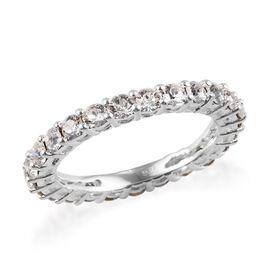 J Francis - Crystal from Swarovski White Crystal (Rnd) Eternity Ring in Sterling Silver