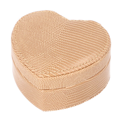 Grace Collection - Lizard Skin Pattern Heart Shaped  Anti-Tarnish Jewellery Box with Inside Mirror, Ring Rows & 2 Sections (Size 10.5x10x6cm) - Brown