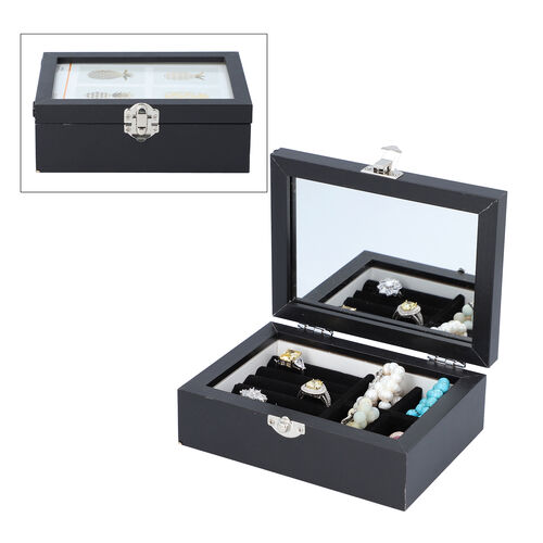 Black Colour Jewellery Box with Photo Frame on Top, Mirror Inside and Latch Clip (16x11.5x5.5cm)