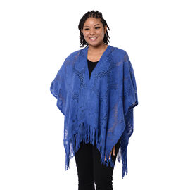 Spring Collection - Solid Blue Colour Hollow Out Kimono with Tassel (Free Size; Length 60Cm)