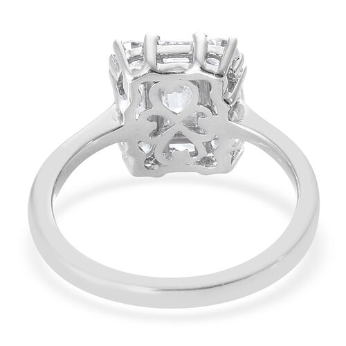 J Francis - Platinum Overlay Sterling Silver (Oct 6x4) Ring Made With SWAROVSKI ZIRCONIA