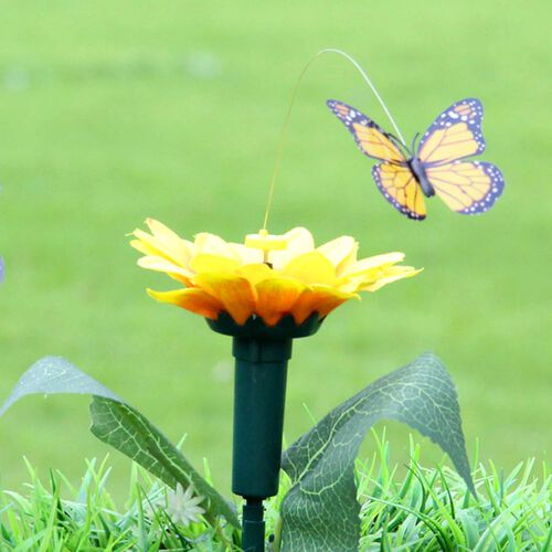 Set of 2 - Solar Fluttering Butterfly with Sunflower (Height 39 Cm) - Yellow, Green and Pink