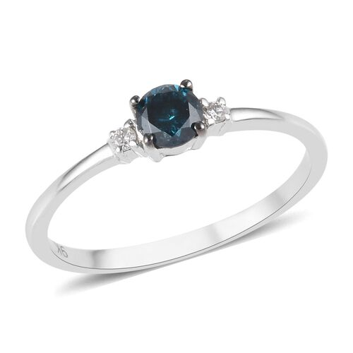 9K White Gold Blue Diamond (Rnd), White Diamond (I2/G-H) Ring 0.25 Ct.