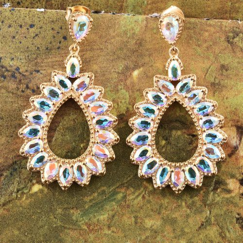 Mercury Mystic Topaz (Pear) Earrings (with Push Back) in 14K Gold Overlay Sterling Silver 9.000 Ct. Silver wt. 7.57 Gms.
