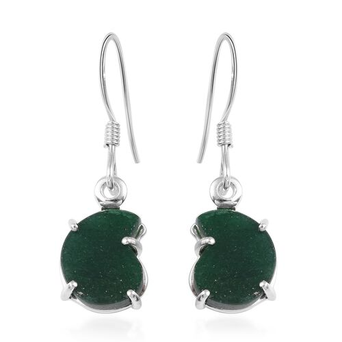 5 Carat Green Aventurine Solitaire Drop Earrings with Hook in Sterling Silver