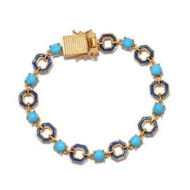 GP - AA Arizona Sleeping Beauty Turquoise and Blue Sapphire Enamelled Bracelet (Size 7) in 14K Gold