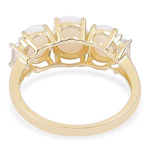 1.75 Ct AA Australian White Opal and White Topaz Ring in 9K Gold