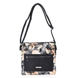Floral Pattern Crossbody Bag with Adjustable Shoulder Strap and Front-Back Zipper Pocket (Size 27x26