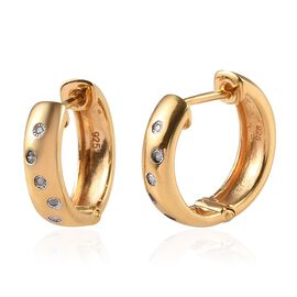 Flush Set Diamond Hoop Earrings with Clasp in 14K Gold Plated Silver
