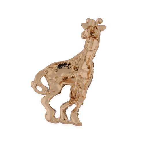 Multi Colour Austrian Crystal Giraffe Brooch in Yellow Gold Tone