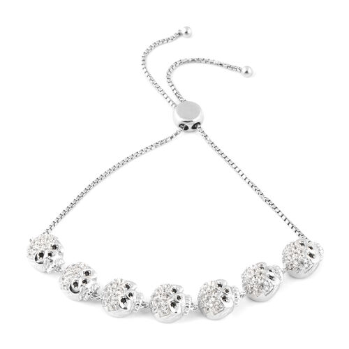Halloween Collection- Natural White Cambodian Zircon (Rnd), Boi Ploi Black Spinel Adjustable Skull Bracelet (Size 6.5 - 9.5) in Rhodium Overlay Sterling Silver 2.630 Ct, Silver wt 14.80 Gms.