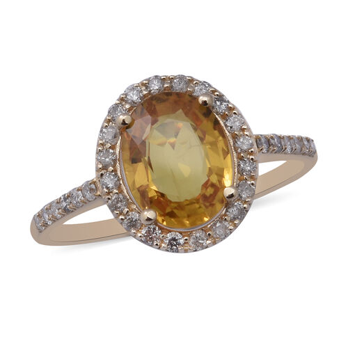 Limited Edition- 9K Yellow Gold Yellow Sapphire and Diamond Ring 2.78 Ct
