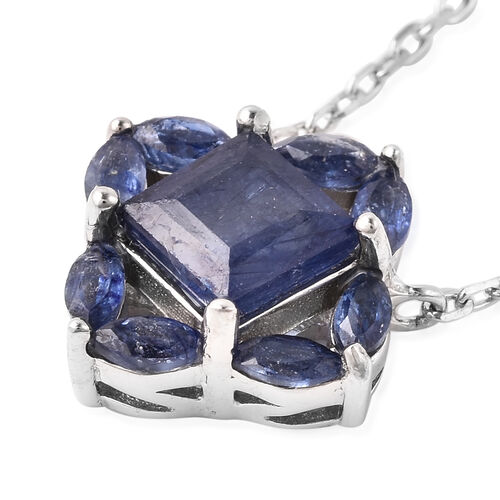 Isabella Liu Floral Collection - AA Masoala Sapphire Necklace (Size 18) in Rhodium Overlay Sterling Silver