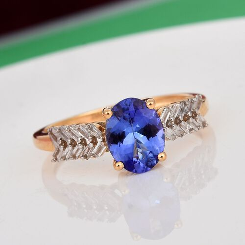 9K Yellow Gold Tanzanite and Diamond Ring 1.30 Ct.