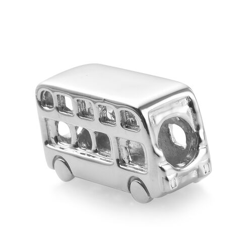 Charms De Memoire Platinum Overlay Sterling Silver Bus Charm