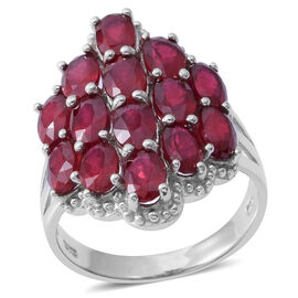 8.50 Ct African Ruby Cluster Ring in Rhodium Plated Silver 6.70 Grams