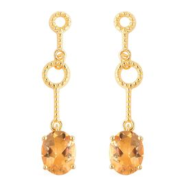 4.50 Ct Citrine Solitaire Drop Earrings in Gold Plated Sterling Silver