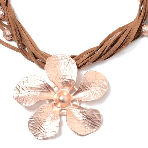 Multi Row Flower Necklace (Size 20 with 2.5 inch Extender) in Rose Tone