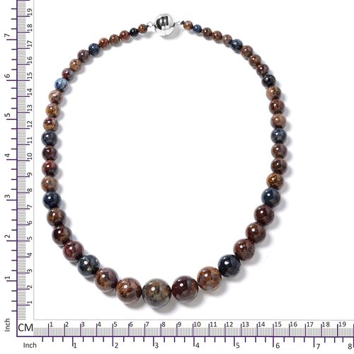 TJC Launch - Extremely Rare Namibian Pietersite (Rnd) Beads Necklace (Size 20) in Rhodium Overlay Sterling Silver 416.500 Ct