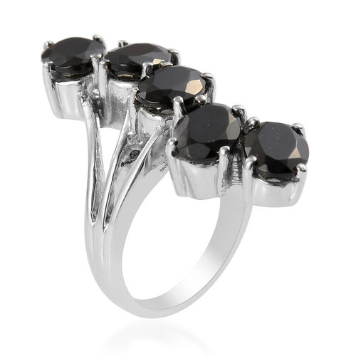 Black Tourmaline Crossover Ring in Stainless Steel 5.25 Ct.