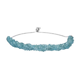 Paraibe Apatite Beads Bolo Bracelet (Size 6.5-9.5 Adjustable) in Platinum Overlay Sterling Silver 24