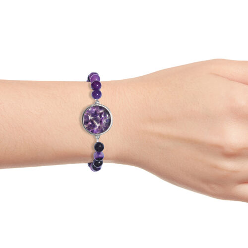 One Time Deal- Amethyst and Onyx Streachable Bracelet (Size 7.5) in Silver Tone