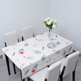 100% Waterproof PVC Table Cloth with Flower & Leaves Pattern (Size 140x137cm) - Cream and Multi