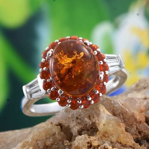 Baltic Amber (Ovl 1.85 Ct), Jalisco Fire Opal and White Topaz Ring in Platinum Overlay Sterling Silver 2.750 Ct.