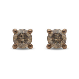 9K Yellow Gold Champagne SGL Certified Diamond (I3) Earrings ( with Push Back )  0.50 Ct.
