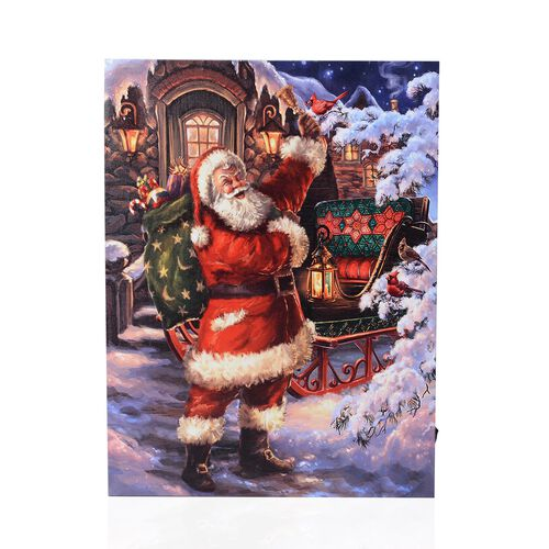 Home Decor - 4 LED Light Framed Canvas Christmas Santa Delivering Gifts Theme Painting Wall Decor (S