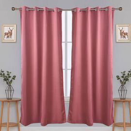 2 Piece Set - Blackout Curtains with Metal Eyelets (Size 140x240cm/Curtain) - Copper Rust Colour