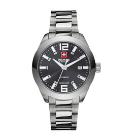 Swiss Military Hanowa Mens Pegasus Automatic Stainless Steel Watch with Black Dial