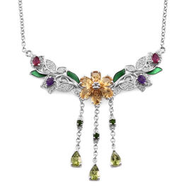 GP Citrine, Hebei Peridot and Multi Gemstone Necklace in Platinum Plated Sterling Silver 11.12 Grams