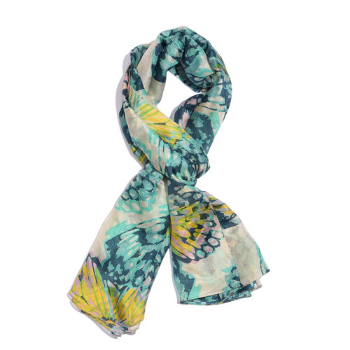 100% Mulberry Silk Turquoise, White and Multi Colour Handscreen Butterfly Printed Scarf (Size 180X10