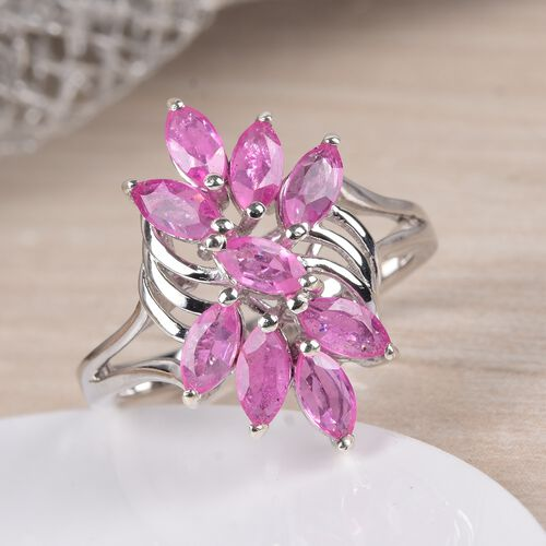 Hot Pink Sapphire Ring in Platinum Overlay Sterling Silver 2.00 Ct.