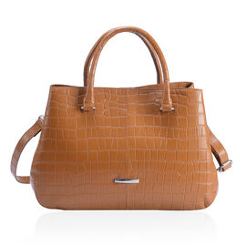 Premium Collection - 100% Genuine Leather Tan Colour Croc Embossed Satchel Bag with Removable Should