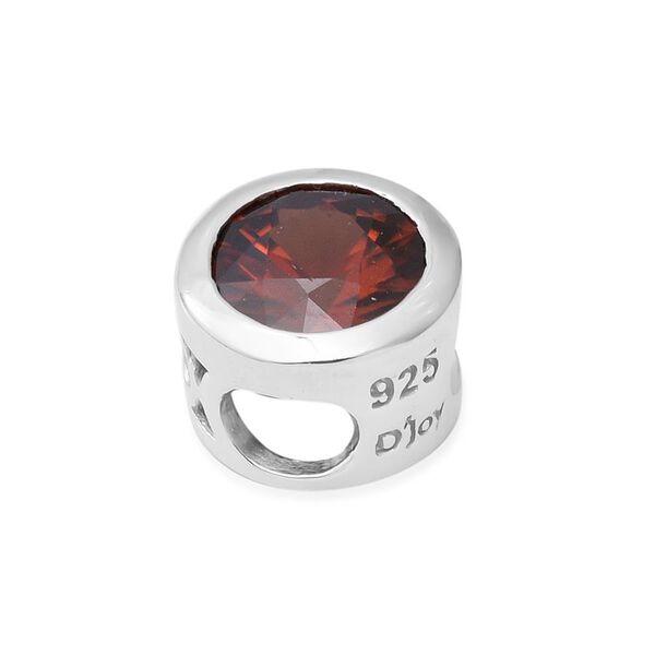 Red Zircon (Rnd 6mm) Pendant in Rhodium Overlay Sterling Silver 1.20 Ct.