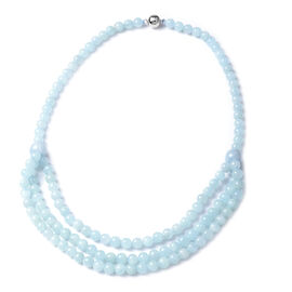 Aquamarine Necklace (Size 20) in Rhodium Overlay Sterling Silver 354.00 Ct.