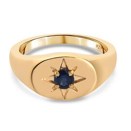 Blue Sapphire Ring in 14K Gold Overlay Sterling Silver 0.02 ct,  Sliver Wt. 5.46 Gms  0.020  Ct.