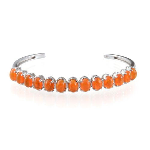 Orange Ethiopian Opal (Ovl) Bangle (Size 7.5) in Platinum Overlay Sterling Silver 7.250 Ct.