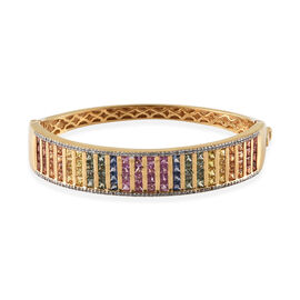 Rainbow Sapphire (Princess), Natural Cambodian Zircon Bangle (Size 7.5) in 14K Gold Overlay Sterling