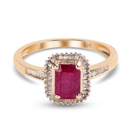 9K Yellow Gold AA Burmese Ruby and White Diamond Ring 1.45 Ct.