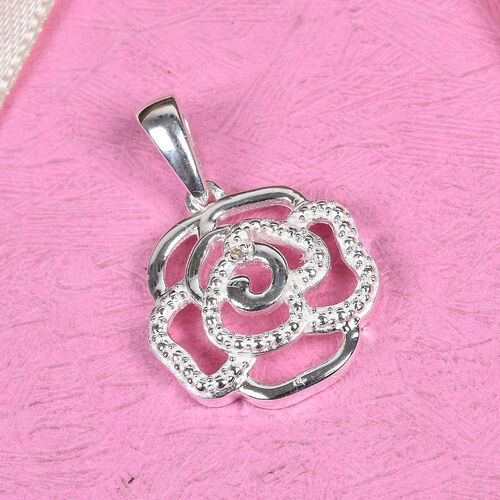 Diamond Rose Floral Pendant in Sterling Silver