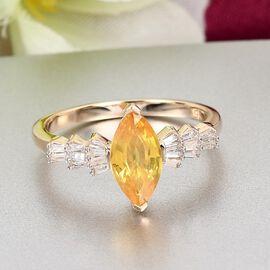9K Yellow Gold Yellow Sapphire and Diamond Ring 1.37 Ct.