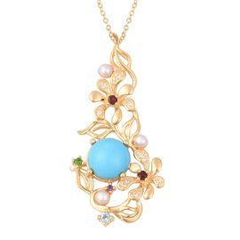 Jardin Collection - Arizona Sleeping Beauty Turquoise (Rnd), Multi Gemstone Floral Pendant with Chai