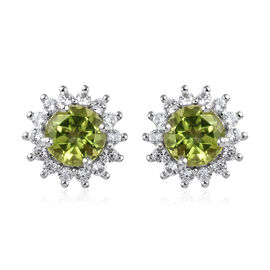 9K White Gold AA Hebei Peridot (Rnd), Natural White Cambodian Zircon Stud Earrings (with Push Back)
